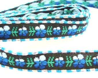 Embroidered Vintage Trim  Blue Flowers Black Background