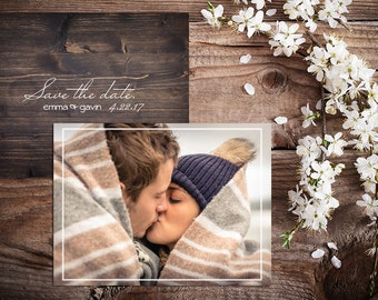 Save The Date Cards Custom Photo Rustic Wood Wedding Announcement 2 Sided