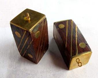 LOW Stock - Vintage Wood Rectangle Pendants With Brass Inlay (1X) (NS542)