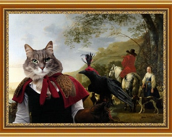 Tabby Cat Siberian Cat Fine Art Canvas Print - A Hilly Landscape with Figures