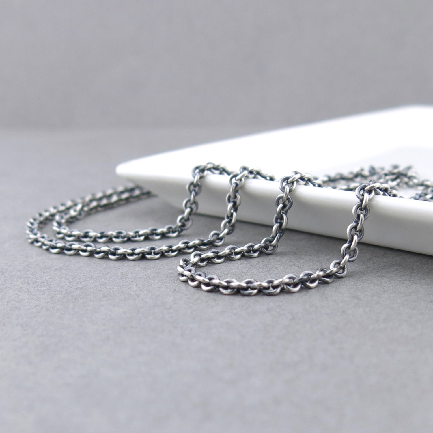 Mens Chain Necklace Heavy Silver Necklace 4 3mm Cable Chain
