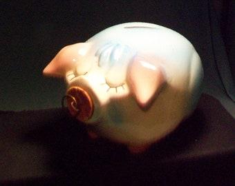 Hull Pottery Pink Blue Corky Pig Bank
