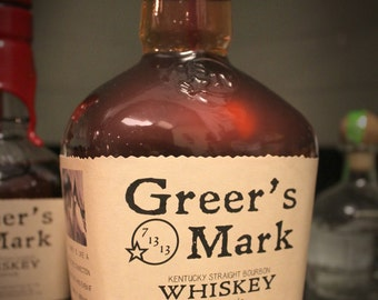 Personalized Maker's Mark Style Whiskey Bottle Label (375ml and 750ml sizes) for Weddings, birthdays, or any occasion