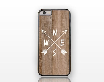Compass arrows wood iPhone case 4/4S-arrows iPhone 5/5S-tribal S4-boho case-wood iPhone case-compass arrows iPhone 6-by Natura Picta-NP151