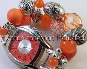 Orange You Glad.. Chunky all orange beaded interchangeable watch band, silver plated