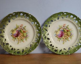 Pair of pretty vintage decorative plates