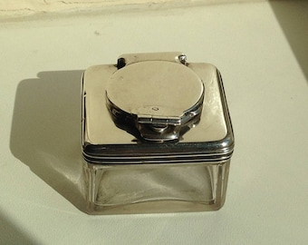 George IV Solid Silver Lockdown Inkwell, 1828, by Archibald Douglas, London.