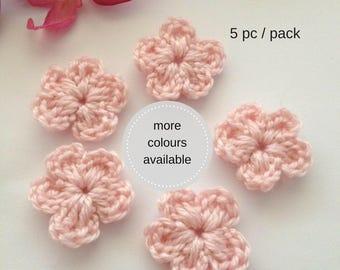 5 pcs Crochet pink flower appliqués, crochet flower embellishment, flower motifs, crochet scrapbooking card making & sewing supplies, patch