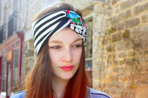 Stripe headband-Turban headband black and white and multicolor graphic Jersey cotton. Retro Turban hair