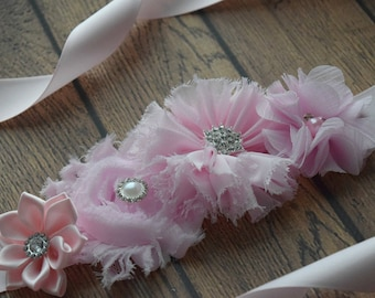Maternity Sash belt,small baby pink Sash , flower Belt, maternity sash