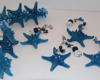 Knobby Blue Starfish Tablecloth Weights Set of 4 and Napkin Ring Set of 6