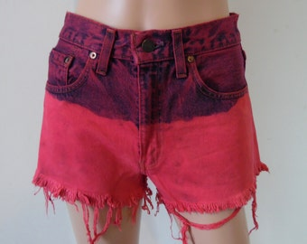 High waisted levis shorts, fushia pink ombre dyed, frayed ripped distressed jean shorts, small, waist 28