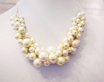 Shades of Light -Pearl Cluster Necklace in White, Cream and Ivory - Chunky, Choker, Bib, Necklace, Wedding, Bridal, Bridesmaid, Prom, OOAK
