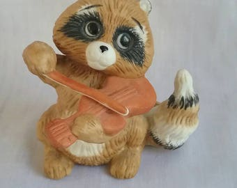 Vintage Enesco Raccoon Playing Violin 1984 Kathy Wise