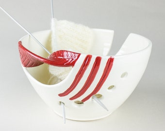 White Pottery Yarn Bowl, Ceramic Knitting Bowl Red Leaf Fresh White Personalized Twisted Leaves gift for Mom Handmade - MADE TO ORDER