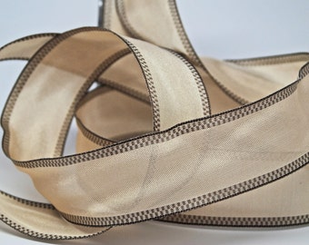 SALE Natural Silky Wired Ribbon 1.5 inch -- Woven Checkered Edge  -- Natural Chocolate Checkered Edge