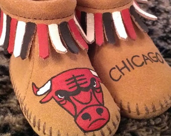 Custom Painted Chicago Bulls Baby Moccasins