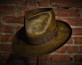 Wide Brim Leather Fedora distressed finish. jack sparrow hat