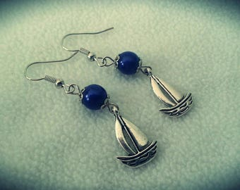 "Pair of earrings ""Blue sailboat"""