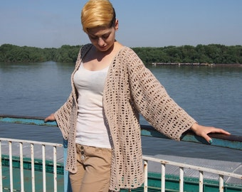 Crochet Pattern Flow jacket women sweater waves woman cardigan beach cover up kimono sleeve,  clothing,  photo tutorial, Instant download