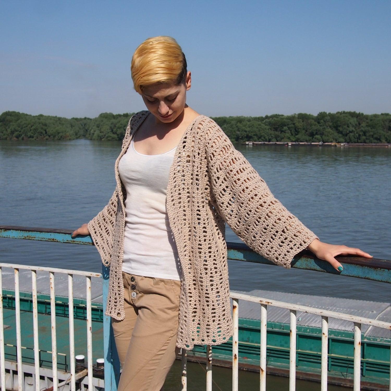 Crochet pattern waves women jacket shrug woman cardigan beach zoom bankloansurffo Images