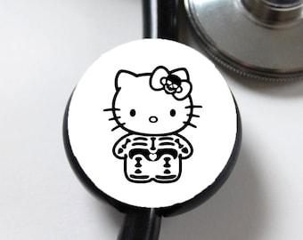 Skeleton Kitty....Stethoscope ID Tag
