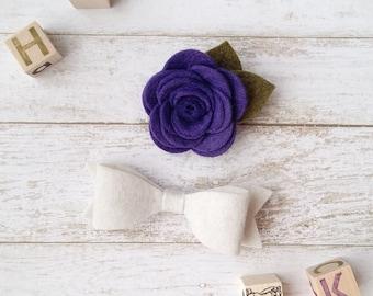 Felt Hair Clip Set. Purple Felt Flower Clip. Felt Baby Bows. Baby Girl Bow Set. Flower Hair Clip. Toddler Hair Clip. Ponytail Bows. Felt Bow