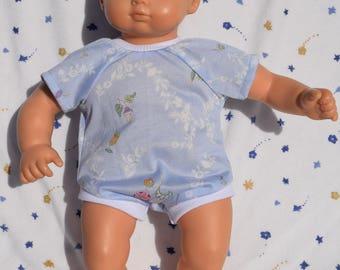 Cute light blue onesie in a flower print fits 15 inch baby dolls
