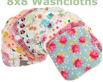 Spring Sale Sale - Mystery Set - 8x8 Sweet Bobbins Cloth Wipes Starter Set of 12 wipes -  Double Layer Flannel  - 8x8
