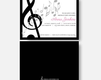 Music Note Invitation - Treble clef, birthday party, musical opening night, show choir, musician, etc. Customizable colors etc