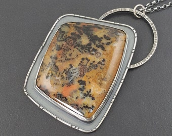 Cheetah Stone Necklace, sterling silver, boho necklace, bohemian, large statement necklace, cheetah agate, animal print, michele grady