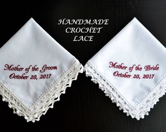 Mother of the Groom, Mother of the Bride, Burgundy Wedding Handkerchief set, Personalized Mom embroidered hankerchief, bridal gift, custom