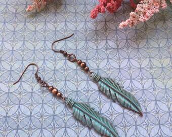 Leaf dangle earrings, patina and copper leaf earrings