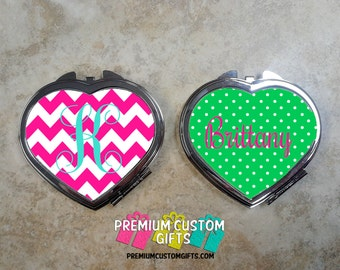 Personalized Heart Shaped Compact Mirror - Valentine's Day Gift - Custom Compact Mirror - Travel Mirror - Personalized Compact Mirror