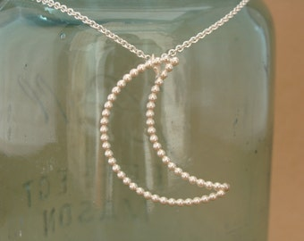 Sterling Silver Crescent Moon Necklace--Handcrafted--Bright Finish