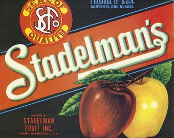 Stadelman's Apples Vintage Crate Label, 1950's