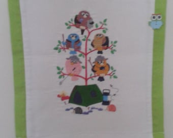 Wall Hanging, Machine Embroidered, Owls, Camping, Tent, Hedgehogs,   Washable, Handmade.