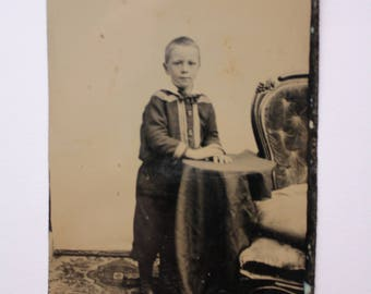 Antique Tintype, Young Boy Standing