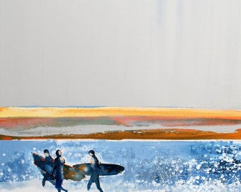 "Wall Art, Surfer Prints, Surf Art, Surf Decor, Surf Style, Beach Print, Beach Art Print of Surfers ""Morning Surfers"" by Melanie McDonald"