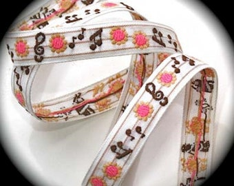 "Ribbon- 5/8"" x 3, 5 or 10 yards White, Brown and Pink - 60 Spun Rayon 40 percent Cotton - Made in Japan Vintage Ribbon -Music Notes/Flowers"