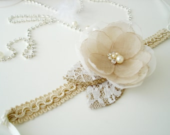 Champagne Wedding Corsage, Rustic  Bridal Organza Flower Corsage, Wrist Corsages, Bridesmaid Gift