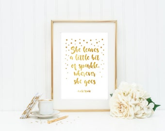 She leaves a little sparkle wherever she goes kate spade baby gift nursery wall art Gold Foil Print, Rose Gold Foil Print, Copper Foil Print