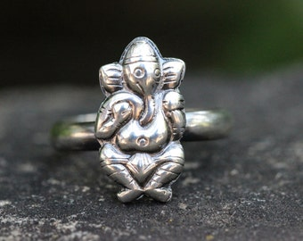 Sterling Silver Ganesh Ring Ganesha Ring Sterling Silver Stacking Ring Yoga Jewelry Hindu Ring Yoga Ring Elephant Ring Elephant Jewelry