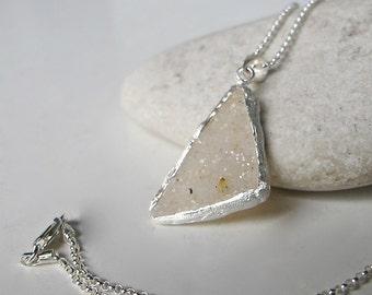 White Raw Druzy Necklace Triangle Rough Stone Druzy Silver Necklace- Boho Statement Necklace- Handmade Raw Crystal Necklace Jewelry Gift her