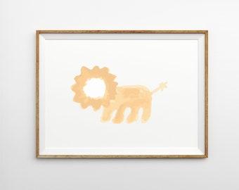Lion Children's Print, nursery art, kids wall art, childrens room art, kids room art, nursery decor