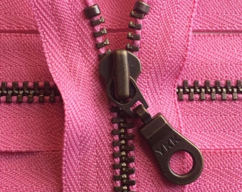 Metal Teeth Zippers- YKK Antique Brass Donut Pull Number 4.5s- 515 Princess Pink- 5pcs-Available in 5 or 12 inches