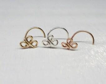 Triquetra Nose Screw, Nose Stud, Clover Nose Screw, Celtic Knot, Celtic Knot Nose Screw, Fleur-de-lis Nose Screw, 3 Leaf Clover Jewelry