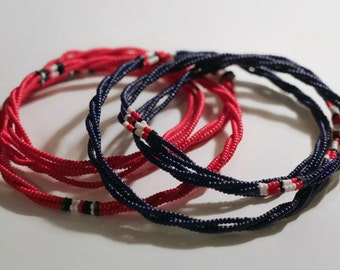 Necklace long Maasai Masai red blue big bright colourful authentic fair trade handmade charity African tribal Kenya