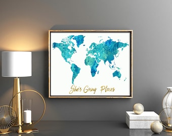 Girls room decor Watercolor blue teal world map pink map with gold quote She's going places baby girl nursery world map Blue map printable