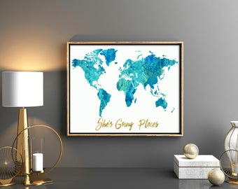 Girls room decor multi blush pink watercolor world map girls room decor watercolor blue teal world map pink map with gold quote shes going places gumiabroncs Choice Image